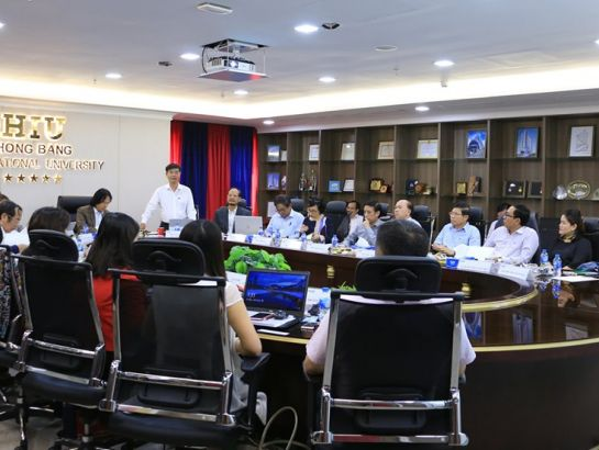 "Overview of the executive board meeting in the building ""The Ship of Knowledge"" of Hong Bang International University (HIU)"