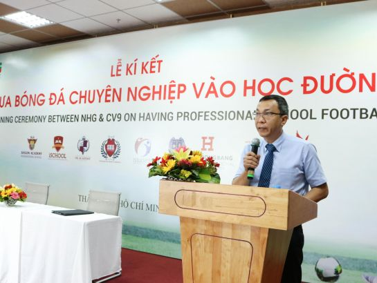 Mr. Tran Quoc Tuan, Vice President of Vietnam Football Federation (VFF) speaking at the signing ceremony.