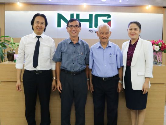 From left: Mr. Hoang Quoc Viet, President of NHG; Prof. Junichi Mori; Prof. Nguyen Xuan Thu (co-founders of RMIT Vietnam) and Ms. Hoang Nguyen Thu Thao, CEO of NHG took memorable picture at NHG office, January 26th, 2018.