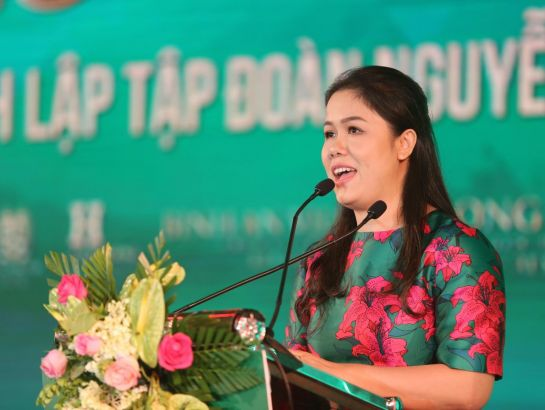 Mrs. Hoang Nguyen Thu Thao, CEO of NHG made speech at the event