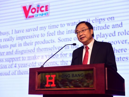 """I believe that the contest must be both the beginning and the transitional steps on the way students go beyond their limits to become active citizens who are willing to inspire people around with positive energy."" said Dr. Dinh Quang Nuong – Deputy CEO of NHG in his opening speech at the finale of Voice of Nguyen Hoang 2017 – 2018"