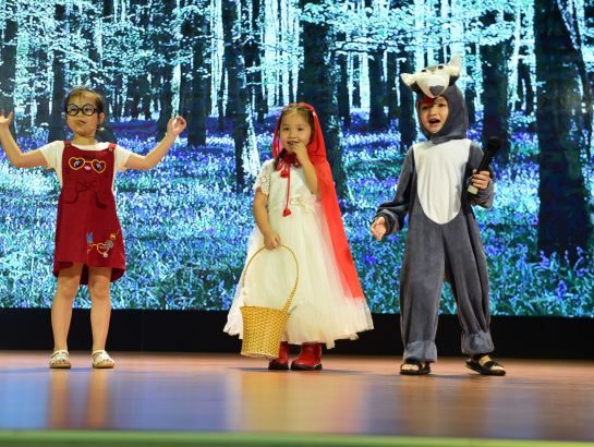 "Dang Ngoc My Tu, Chau Xuan Khanh and Duong Gia Phat from iSchool Tra Vinh made a great impression with their story: ""Little Red Riding Hood."""