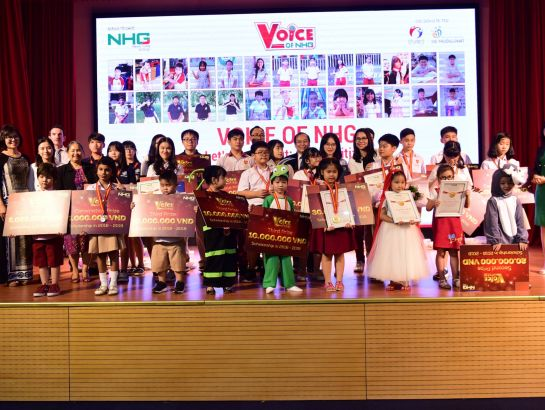 """Voice of NHG"" 2017 contestants together with teachers and organizing committee"