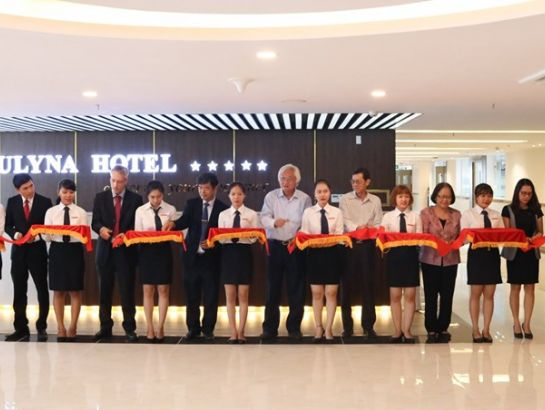 The delegates cut the ribbon to mark the inauguration of the 5-star Sulyna Hotel and Tourism Practice Complex.