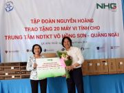 Chairman of Nguyen Hoang Group donating 20 computers to Vo Hong Son Center for Children with Special Needs